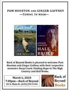 Author Reading with Pam Houston's Deep Creek and Ginger Gaffney's Half Broke